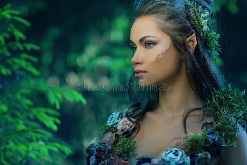 Donna di Elf in una foresta fotografia stock libera da diritti