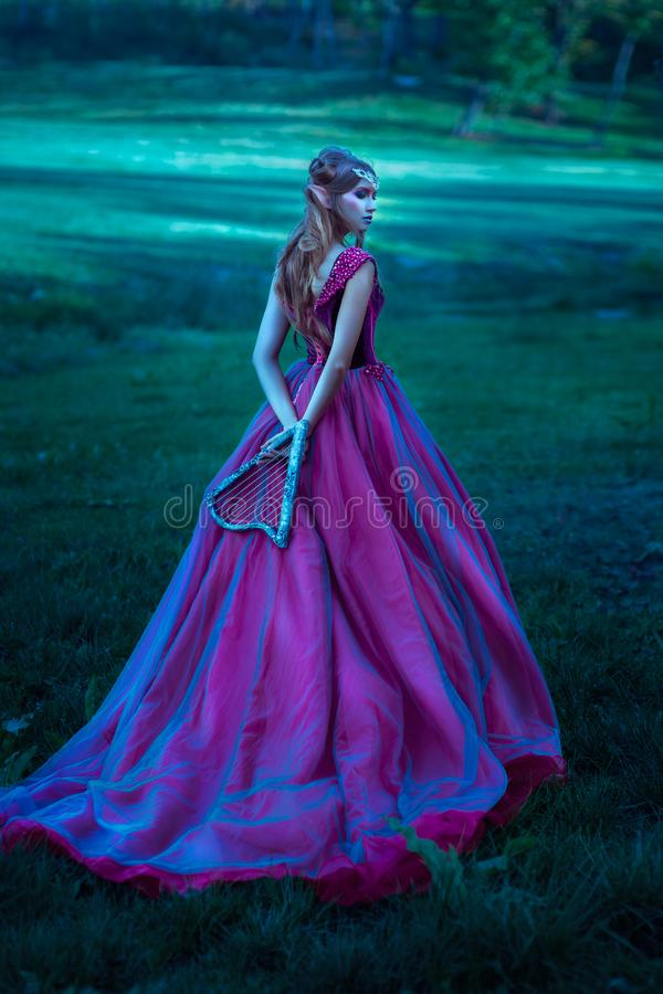 Donna di Elf in vestito viola fotografie stock