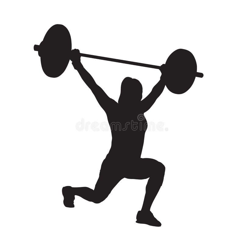 Donna di forma fisica con il bilanciere, sollevamento pesi Addestramento di forza L illustrazione di stock