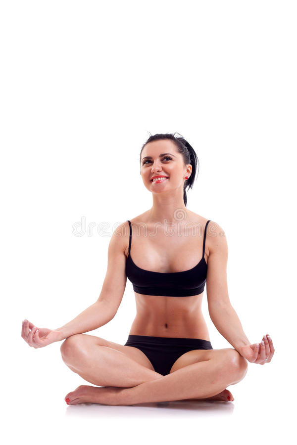 Donna di forma fisica di yoga di zen su bianco immagine stock libera da diritti