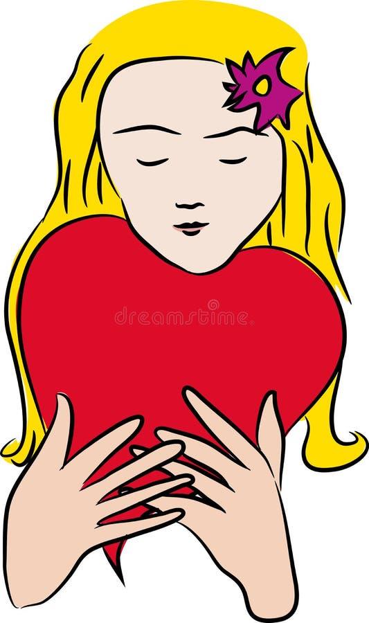 Donna di giorno di biglietti di S. Valentino con impulso del cuore illustrazione di stock