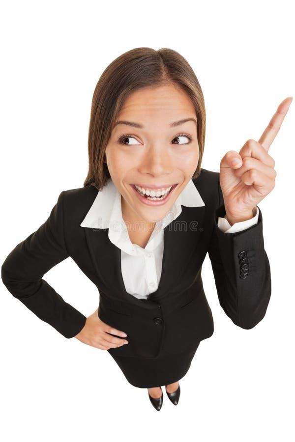 Donna di idea di affari che pensa Eureka immagine stock libera da diritti