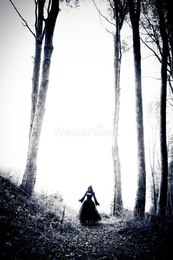 Donna di incubo in vestito nero fotografia stock