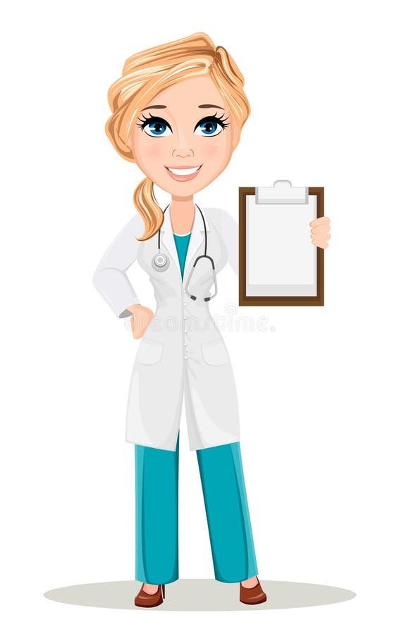 Donna di medico in abito medico con lo stetoscopio Carattere sveglio di medico del fumetto royalty illustrazione gratis