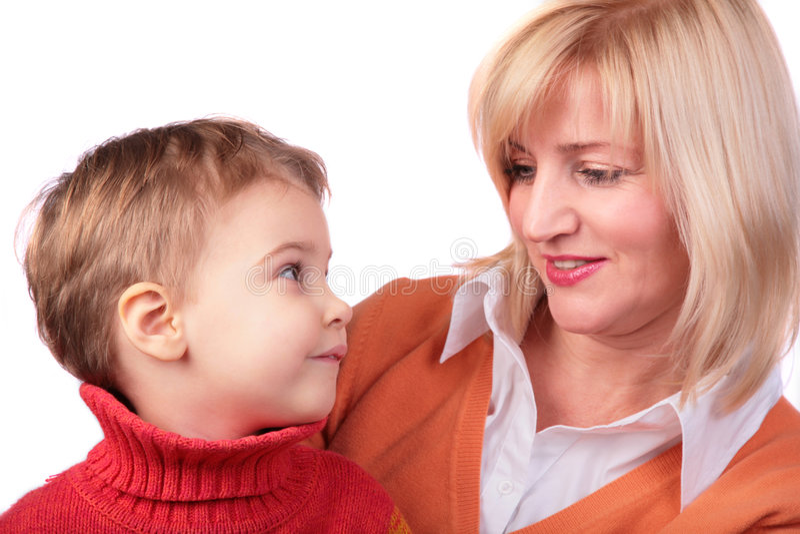 Donna di mezza età con il bambino immagine stock libera da diritti