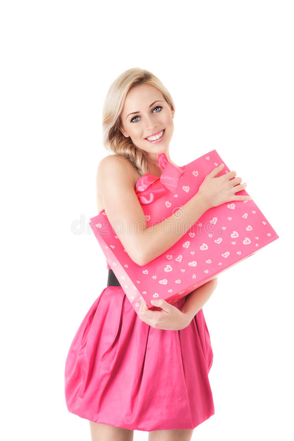 Donna di modo con il sacchetto di acquisto fotografia stock libera da diritti