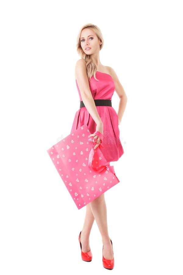 Donna di modo con il sacchetto di acquisto immagine stock