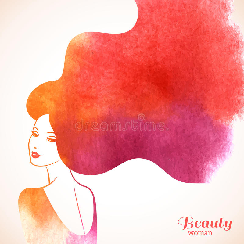 Donna di modo dell'acquerello con capelli lunghi royalty illustrazione gratis