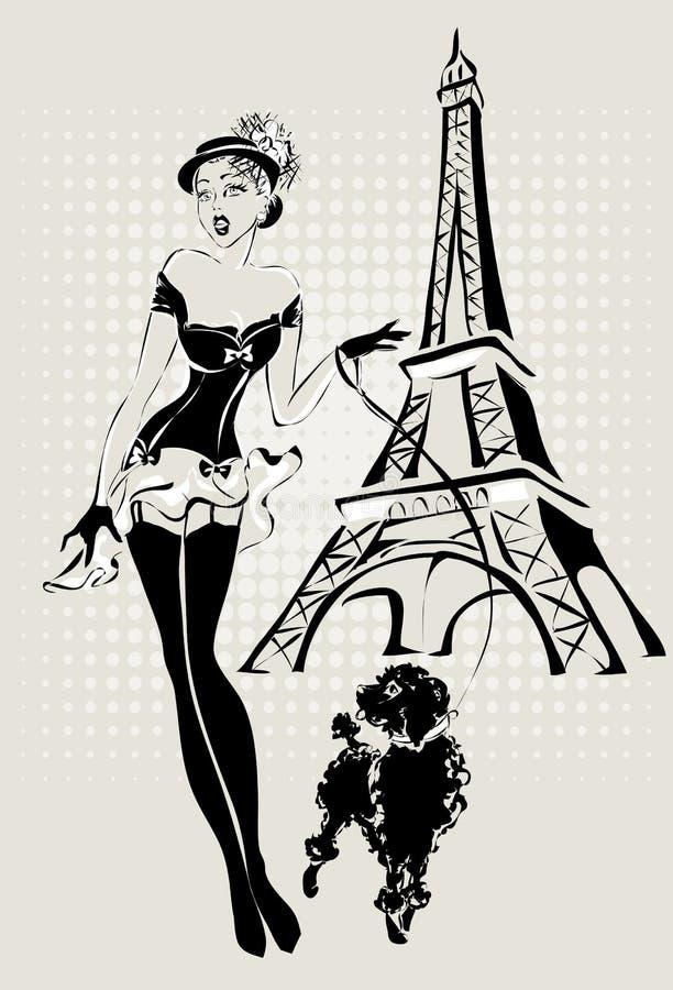 Donna di modo dell'illustrazione vicino alla torre Eiffel con il piccolo cane immagine stock