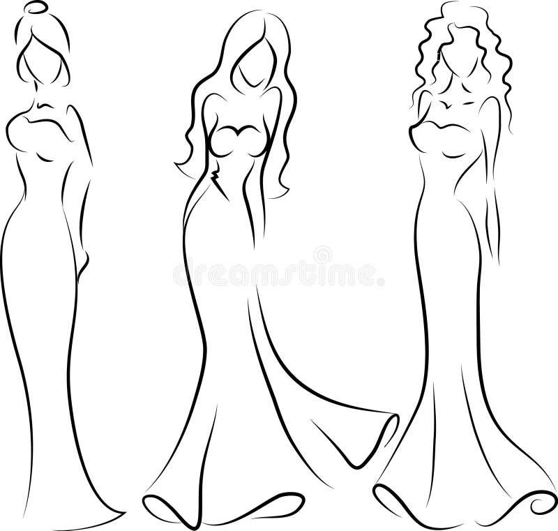 Donna di modo, disegno della mano illustrazione vettoriale