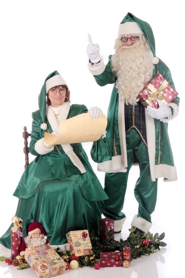 Donna di natale e del Babbo Natale immagini stock libere da diritti
