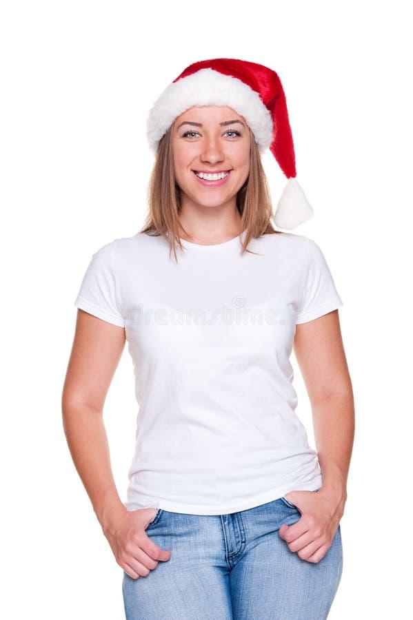 Donna di natale in maglietta bianca fotografia stock libera da diritti