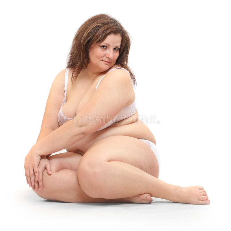 Donna di peso eccessivo. fotografie stock