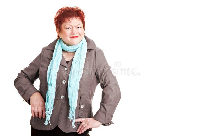 Donna di peso eccessivo con la sciarpa fotografia stock libera da diritti