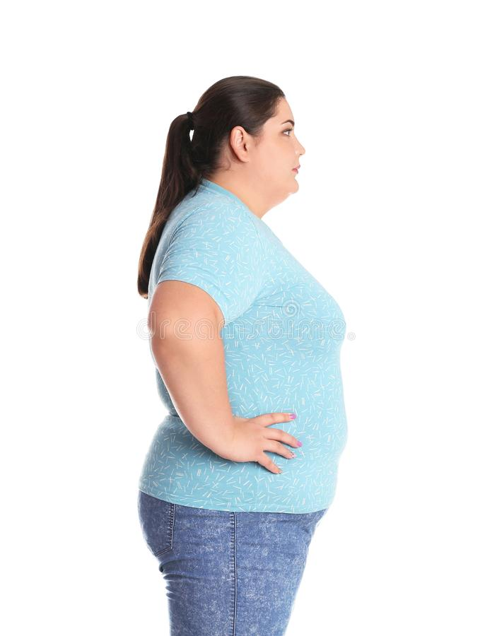 Donna di peso eccessivo prima di perdita di peso immagini stock libere da diritti