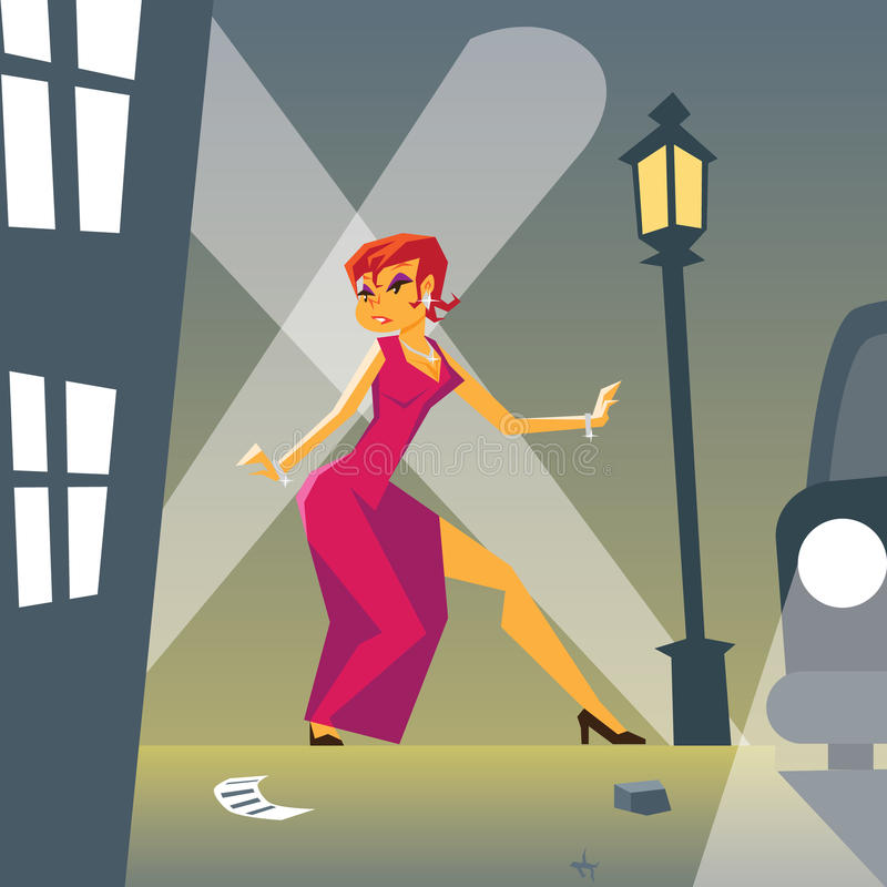 Donna di pin-up in pericolo sulla via alla moda royalty illustrazione gratis