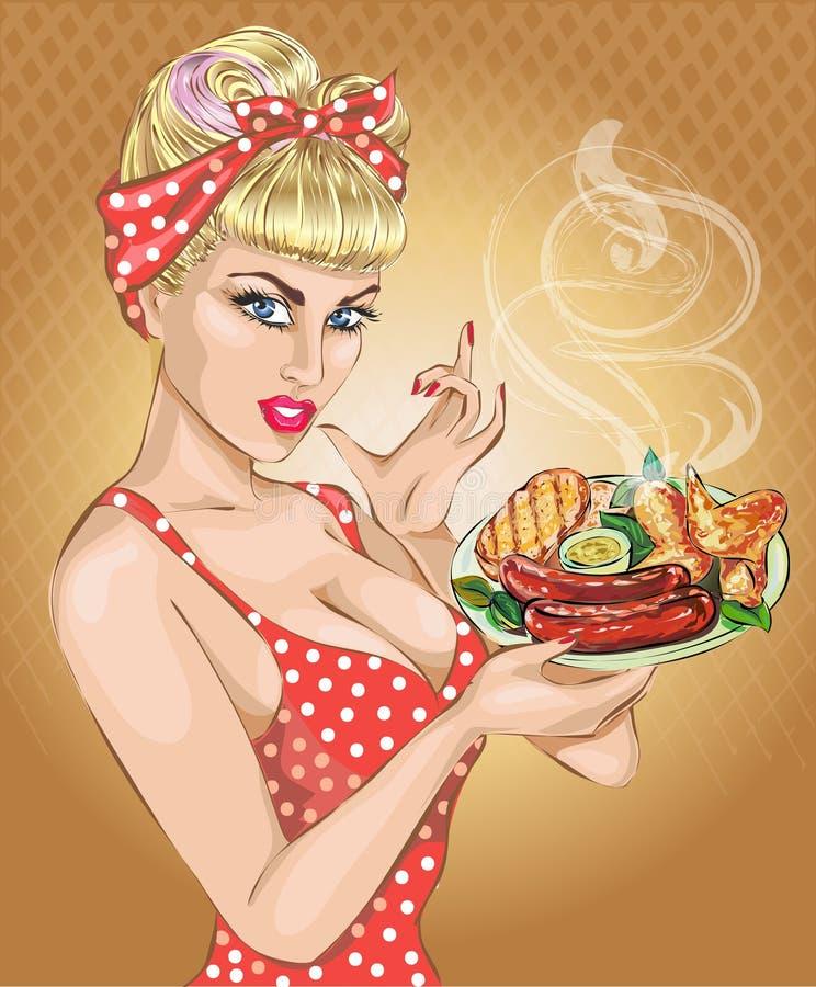 Donna di Pop art con il piatto del foog Pin-up, BBQ, salsiccia Modo, moglie sexy, illustrazione di stock