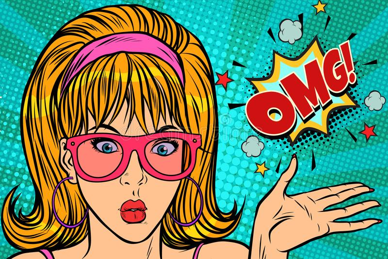Donna di Pop art di sorpresa OMG illustrazione di stock