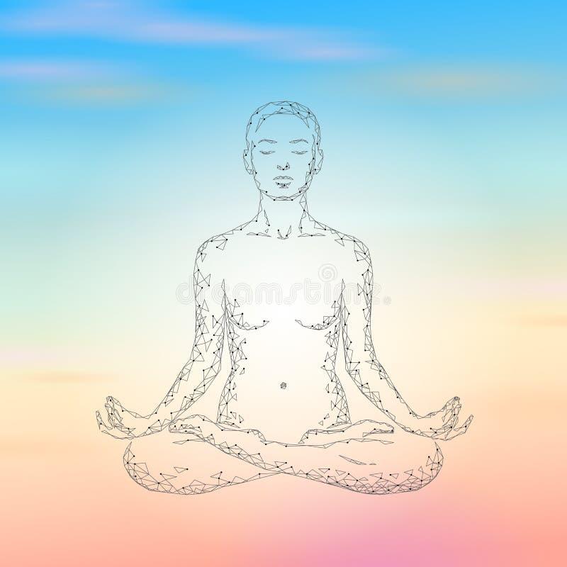 Donna di pratica di yoga siluetta bassa di posizione di loto nella poli Classe poligonale di benessere di esercizio di rilassamen illustrazione vettoriale