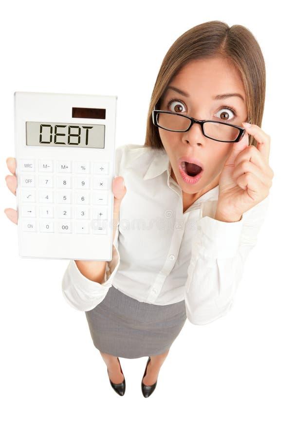 Donna di problemi dei soldi di debito immagini stock