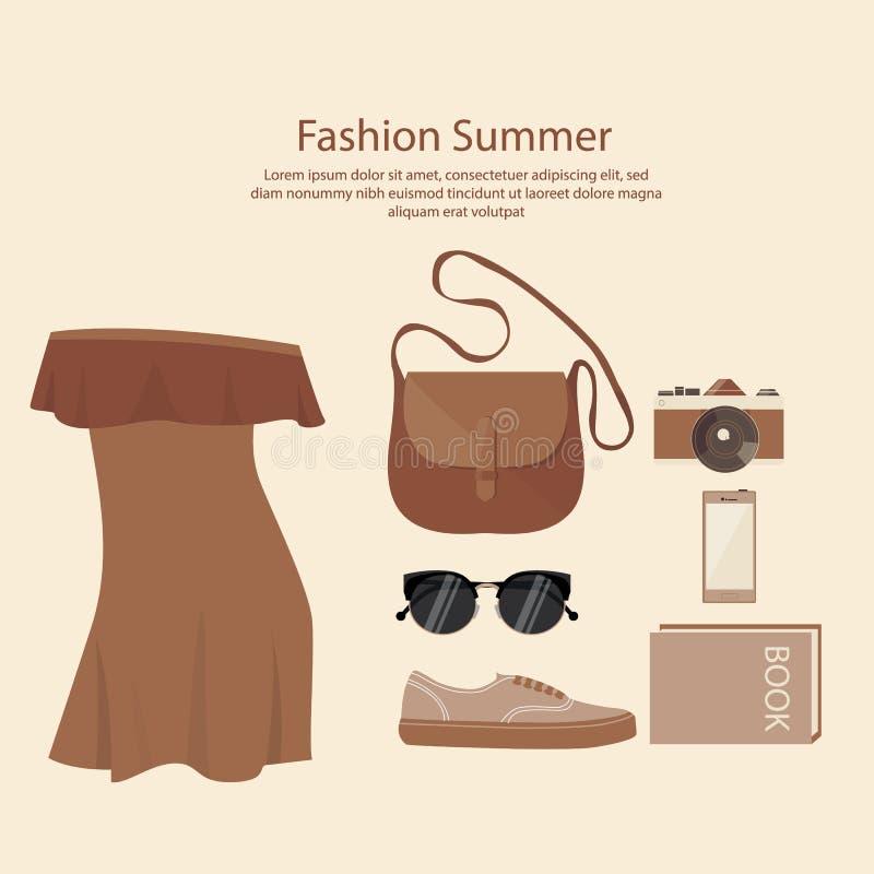Donna di progettazione del vestito da estate di modo con le scarpe della macchina fotografica degli occhiali da sole della borsa  illustrazione di stock
