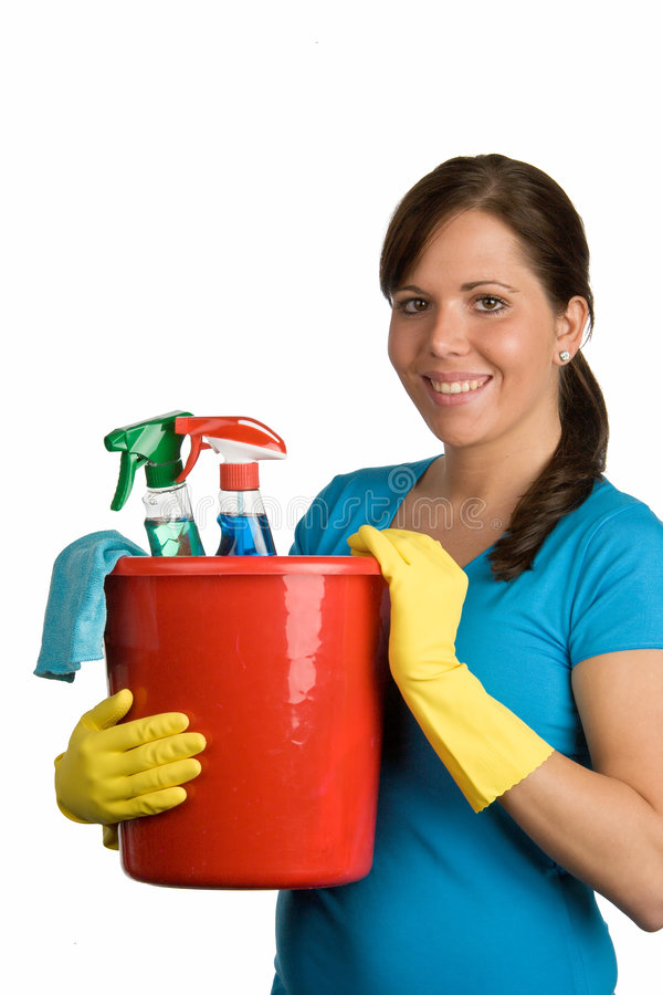 Donna di pulizia fotografie stock