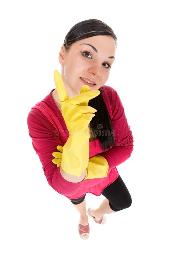 Donna di pulizia fotografia stock
