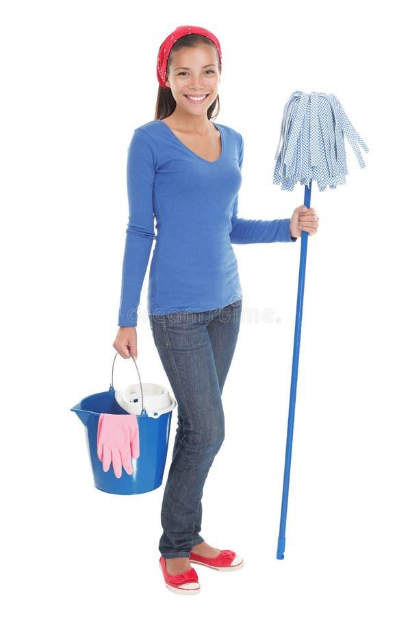 Donna di pulizia della Camera immagini stock libere da diritti