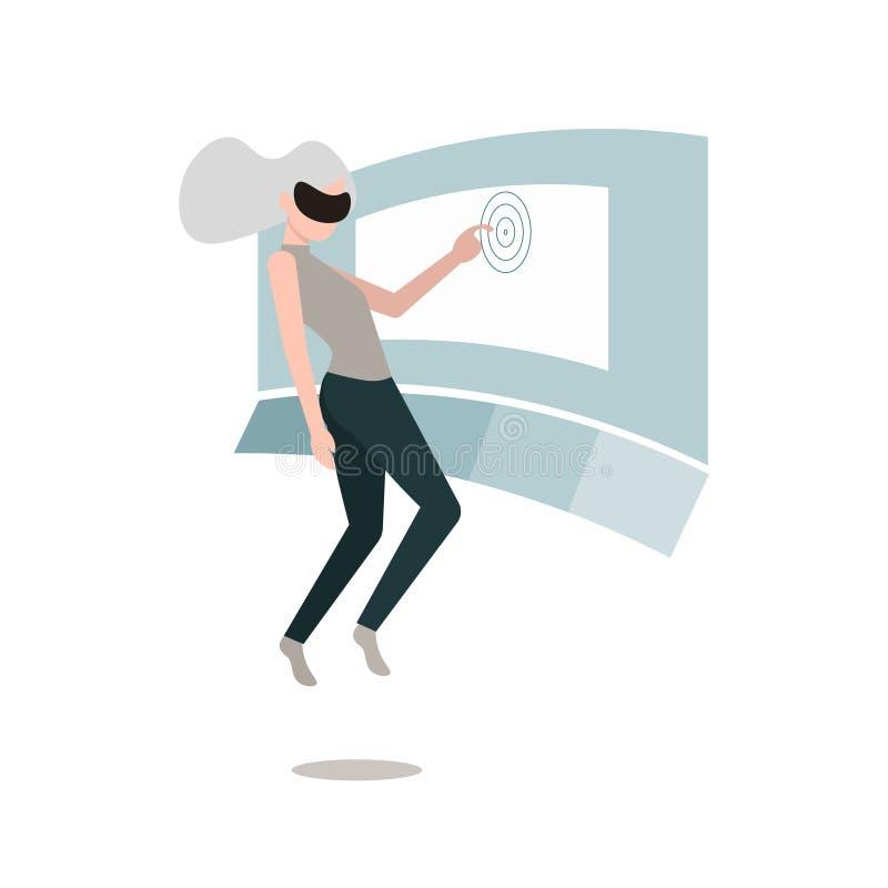 Donna di realt? virtuale nell'aria illustrazione di stock
