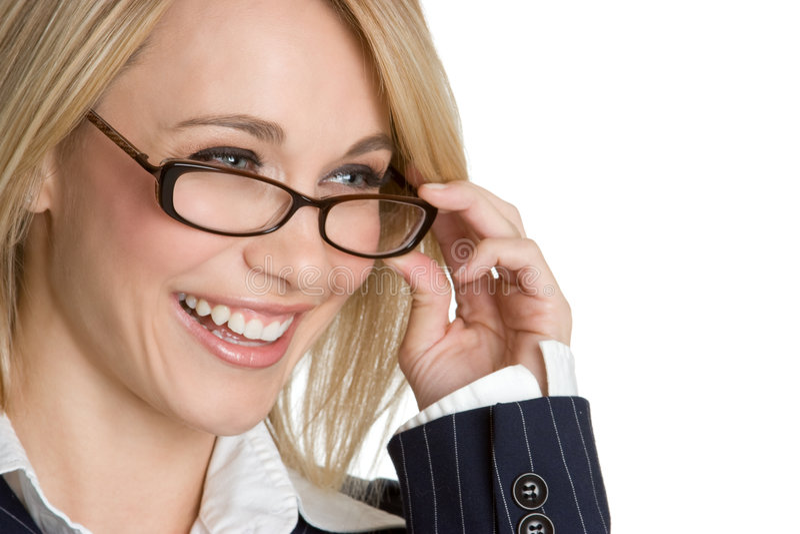 Donna di risata degli occhiali fotografia stock libera da diritti