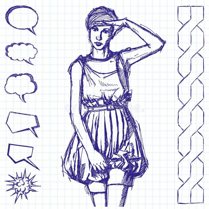 Donna di schizzo con la mano illustrazione vettoriale