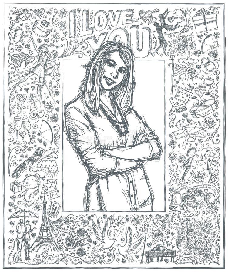 Donna di schizzo con le mani attraversate contro il fondo 04 di Love Story royalty illustrazione gratis