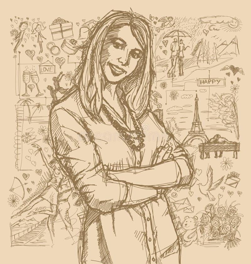 Donna di schizzo con le mani attraversate contro il fondo di Love Story royalty illustrazione gratis
