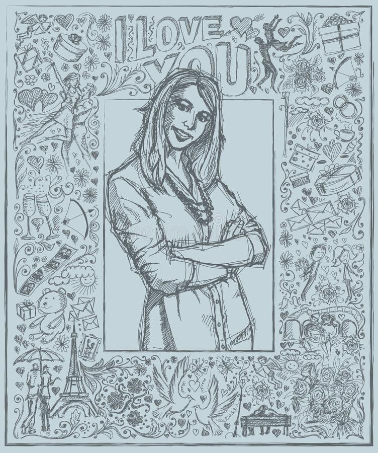 Donna di schizzo con le mani attraversate contro il fondo di Love Story illustrazione di stock