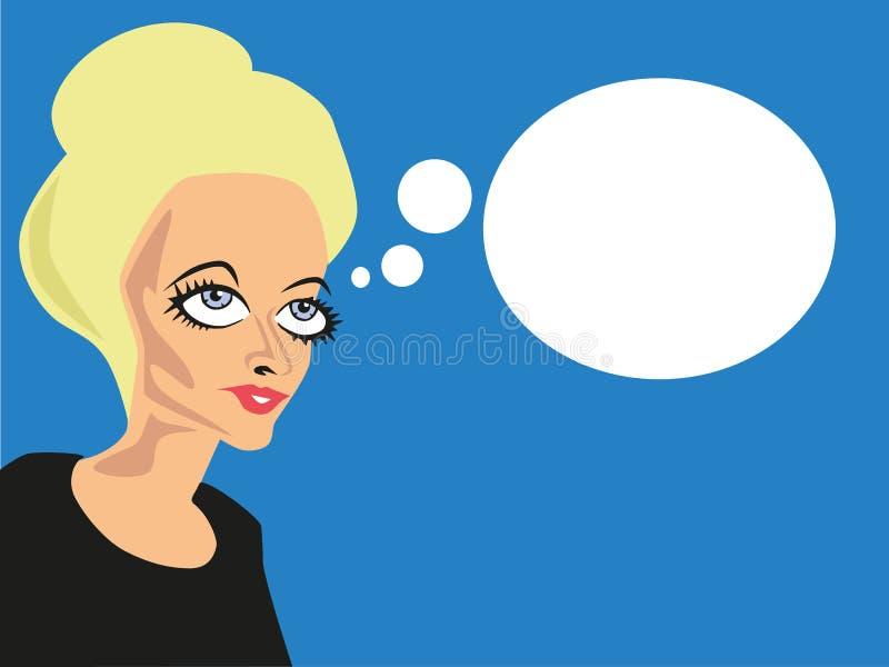 Donna di sguardo sconosciuta con le bolle comiche immagine stock libera da diritti
