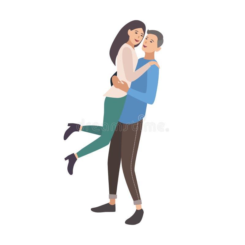 Donna di sollevamento dell'uomo Ragazza d'abbraccio e risata del ragazzo Giovani coppie sveglie nell'amore Abbracciare dell'amica illustrazione vettoriale