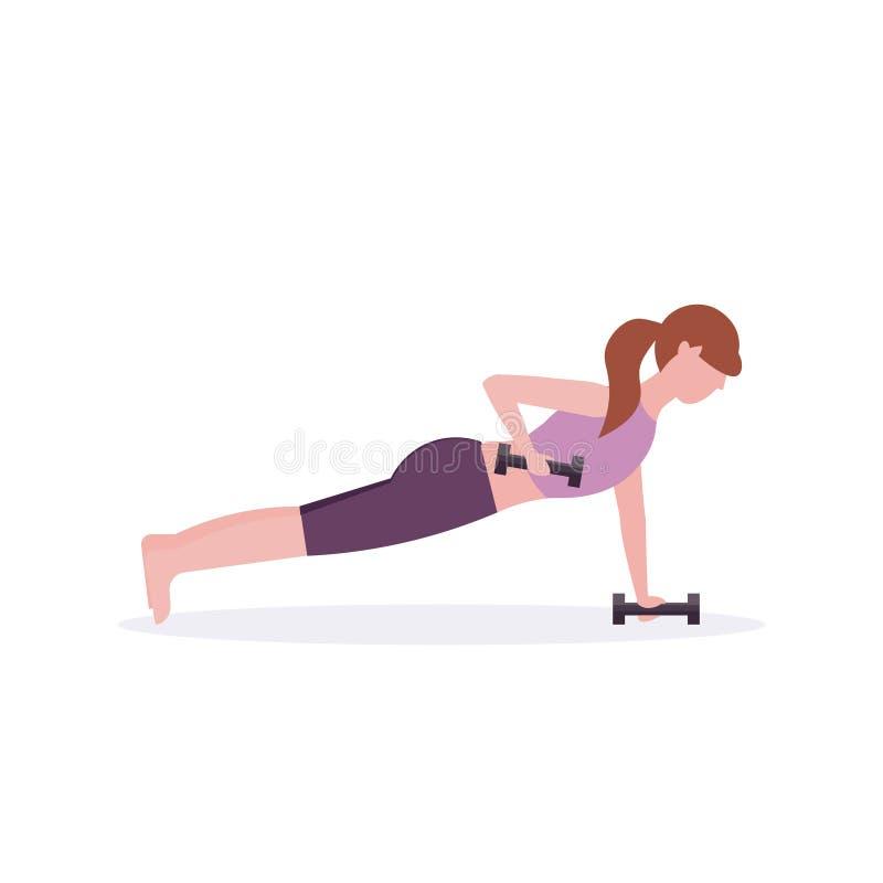 Donna di sport che fa il peso di sollevamento della ragazza di esercizio della plancia delle teste di legno che risolve nel cross royalty illustrazione gratis
