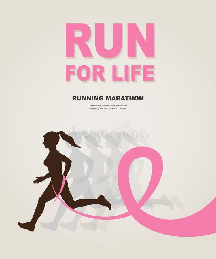 Donna di sport con eseguire nastro rosa, consapevolezza del cancro al seno royalty illustrazione gratis