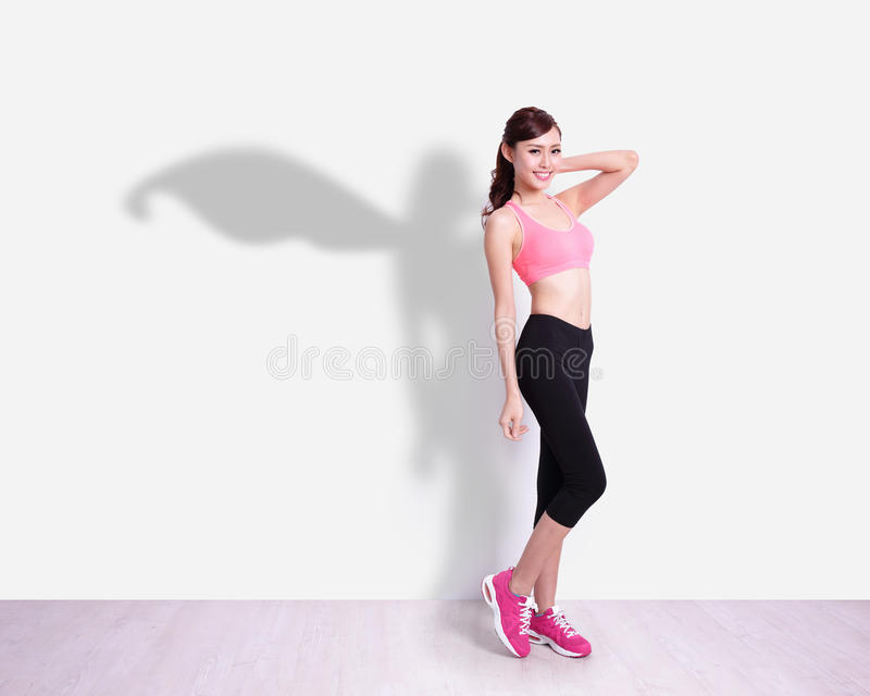 Donna di sport del supereroe fotografia stock