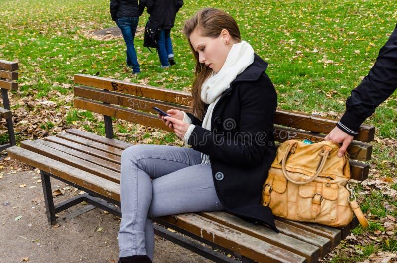 Donna di Stealing Bag While del borsaiolo che per mezzo del telefono sul banco di parco immagini stock libere da diritti