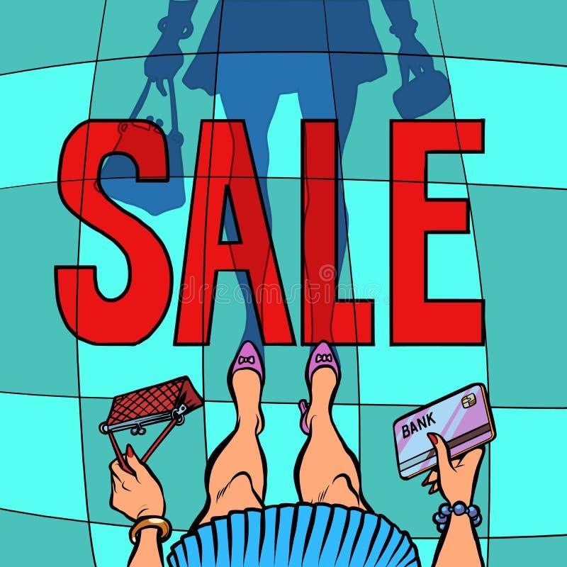 Donna di vendita con la carta assegni illustrazione di stock