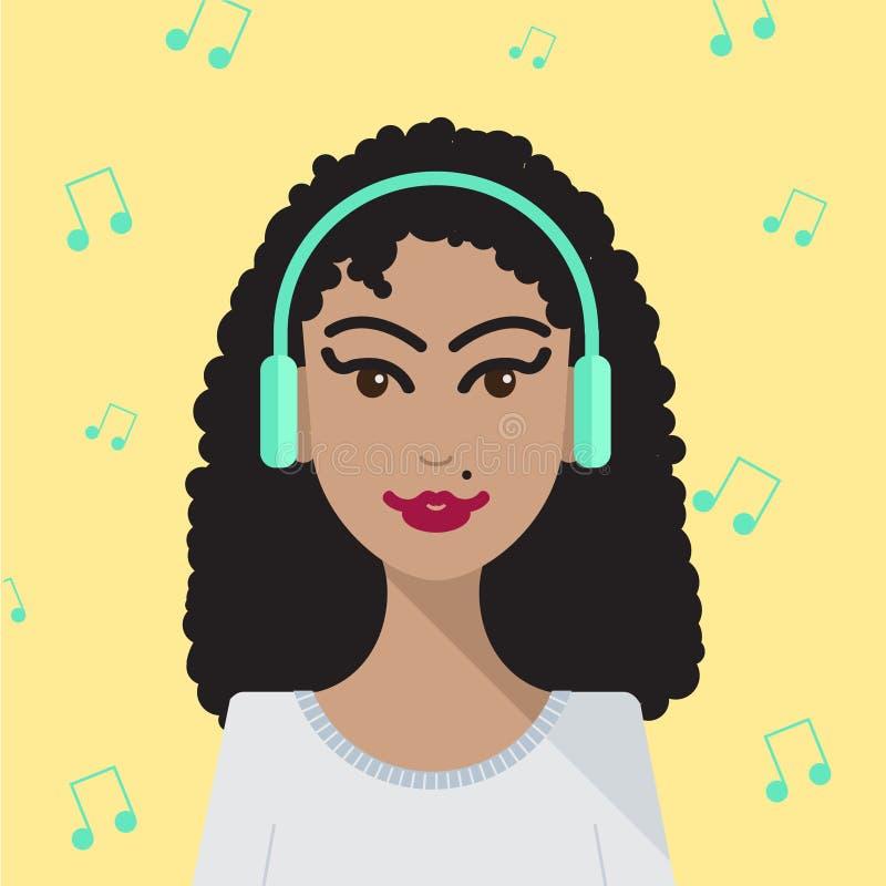 Donna di vettore che ascolta l'illustrazione di musica royalty illustrazione gratis