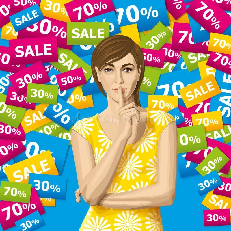 Donna di vettore con il segreto illustrazione di stock