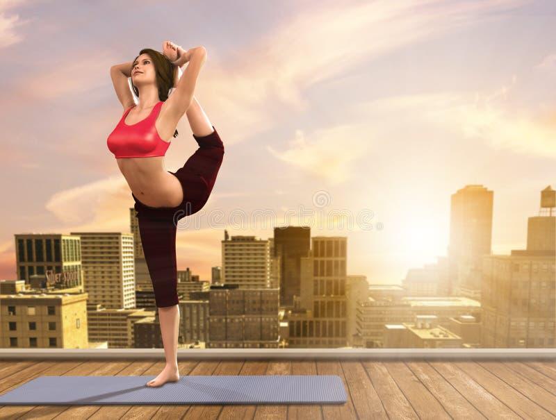 Donna di yoga che fa le pose sul tetto della città immagine stock