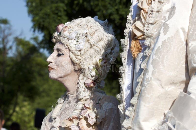Donna dipinta fronte fotografie stock libere da diritti