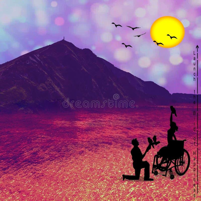 Donna disabile con gli uccelli in sua mano immagine stock libera da diritti