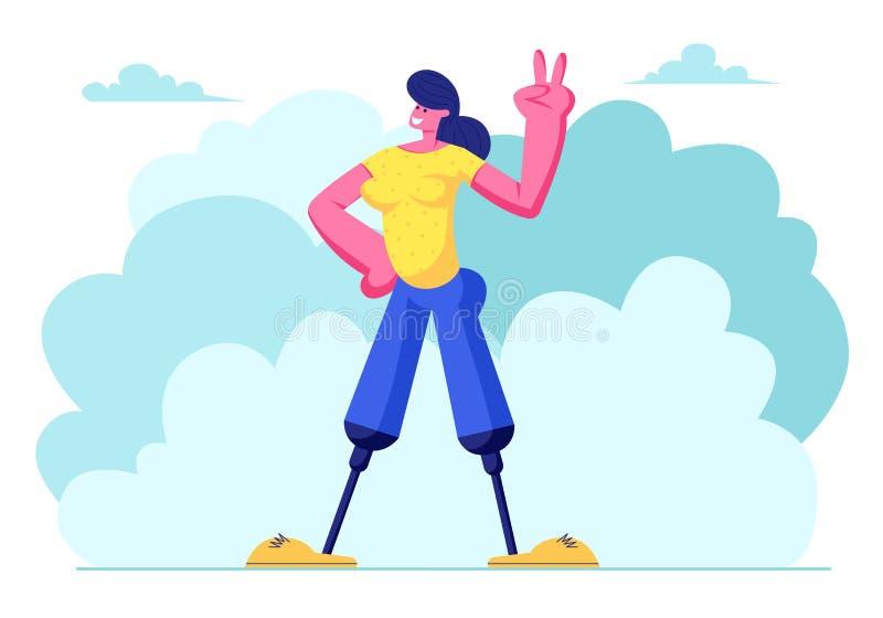 Donna disabile con la protesi delle gambe che sorride a mano e che mostra Victory Gesture, camminando aria aperta, motivazione, B illustrazione vettoriale