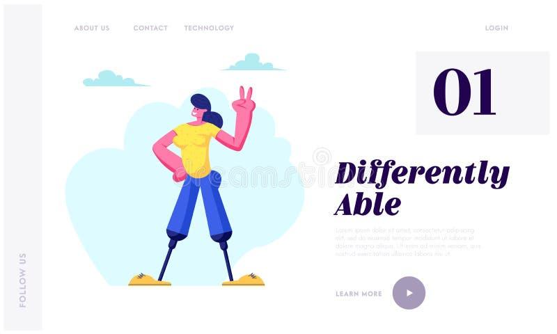 Donna disabile con la protesi delle gambe che sorride a mano e che mostra Victory Gesture, motivazione, ragazza handicappata che  royalty illustrazione gratis