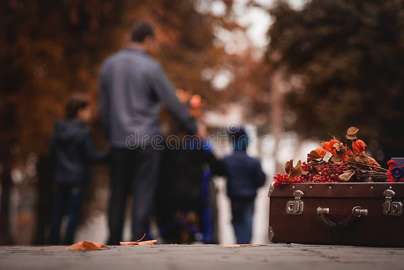 Donna disattivata con una passeggiata con la sua famiglia fotografie stock libere da diritti