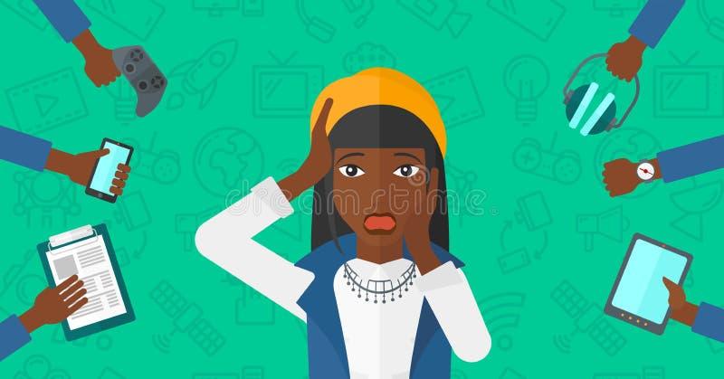 Donna disperata con gli aggeggi royalty illustrazione gratis